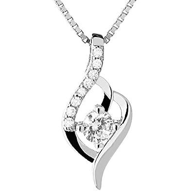 e076d014c164 TED COLLINS collar de plata 925 con colgante de zirconia - collar de mujer    cadena   colgante - con 2 años de garantía de devolución de dinero   Amazon.es  ...
