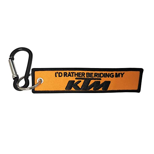 Pasdec 1x Stitching Fabric Tag Keychain with Aluminum D Shape Carabiner Black Color Clip Hook Motorcycles Bike Biker Key Chain Compatible Fit Use for KTM