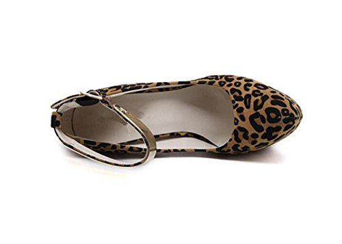 Chaussures Femmes Fermeté-Toe Chaussures Reine Chaussures Talons Chaussures Sexy Leopard Feuille Métal Party Nightclub Chaussures , dark brown , 36