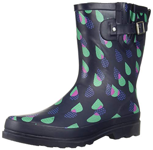 Western Chief Women Women's Waterproof Printed Mid Height Rain Boot, Dotty Downpour, 10 M US