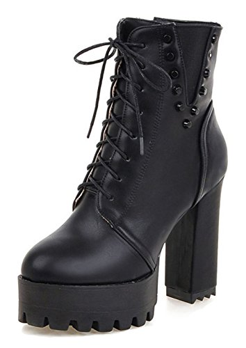 Aisun Women's Studded Thick Sole Round Toe Block High Heel Short Boots Lace Inside Zip Up Platform Ankle Booties with Zipper (Black, 7.5 B(M) US) - Lace Studded Shorts