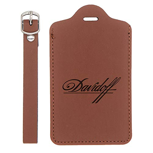 Davidoff Engraved Synthetic Leather Luggage Tag (Chestnut Brown) - United States Standard - Handcrafted By Mastercraftsmen - For Any Type Of Luggage