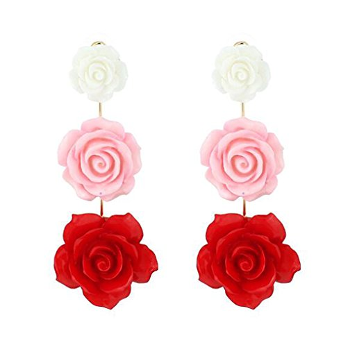 HoGadget Women Resin Rose Flower Dangle Drop Statement Pendant Eardrop Earrings (Red) Carved Red Coral Rose Pendant