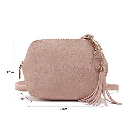 Borsa Donna Semplice Moda Smerigliato Colore Della Caramella Del Sacchetto Della Nappa Spalla,Pink-OneSize