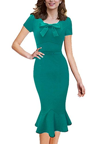 Viwenni Women Slim Maxi Solid Strapless Cocktail Prom Ball Party Dresses (Large, Green-1)