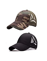 M_Eshop 2 Pack of Unisex Mesh Trucker Ponytail Baseball Cap