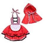 FYMNSI Baby Girls Halloween Deluxe Little Red Riding Hood Costume Cape Cloak Outfits Storybook Fairy Tale Costume