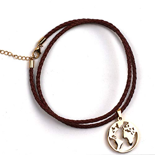 Anlive World Map Necklace Mother Earth Necklace Long Distance Travel Gift (Braided Leather Gold 18