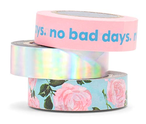 ban.do Stick with It Paper Tape Rolls, Set of 3, Rose Parade
