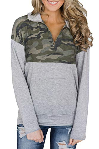- Women Casual 1/4 Zip Long Sleeve Pullover Tops with Pocket Floral Color Block Sweatshirt Camo 2XL