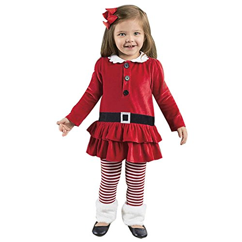 Goddessvan Christmas Outfits Set,Toddler Kids Baby Girl Striped Princess Dress Corduroy Tops Pants