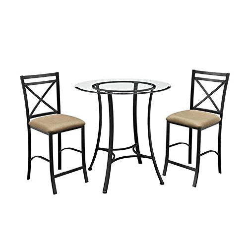 Set Height Counter Bistro (Dorel Living Valerie 3 Piece Counter Height Glass and Metal Dining Set)