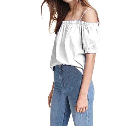 Willsa Women's Summer Casual Off Shouder Blouse Short Sleeve T-Shirt Tops (Large, White)