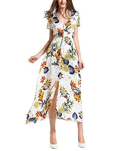 Kawaiine Womens Boho Floral Maxi Dress Casual Summer Evening Party Beach Dresses Cold Shoulder Ankle-Length Dress White