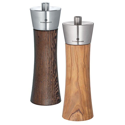 Zassenhaus Pepper and Salt Mill Set, Wenge and Olive Wood, 7.0 Inch