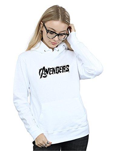 Sweat Logo Avengers Femme Marvel Blanc Capuche Distressed À IOZvqnfwqE