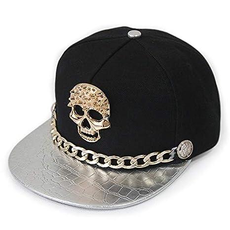 1c181fe3520 Amazon.com  MAGA 1 Snapback Caps Punk Hip Hop Cap Golden Skull Rivet ...