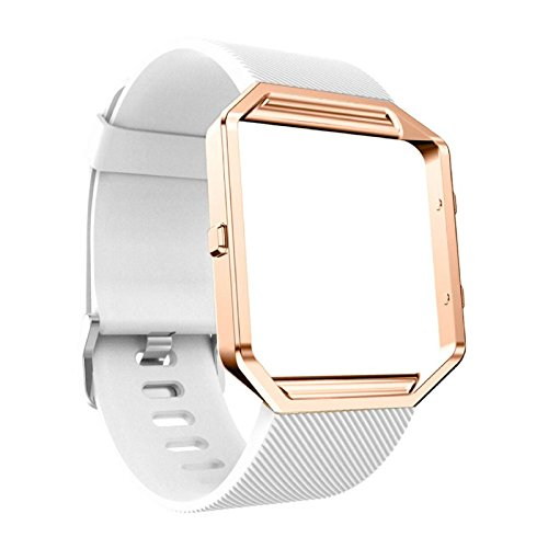 Price comparison product image Owill Silicon Bracelet Watch Band Wrist Strap With Rose Gold Metal Frame For Fitbit Blaze,  Applicable Wrist: About 135-215MM (White)