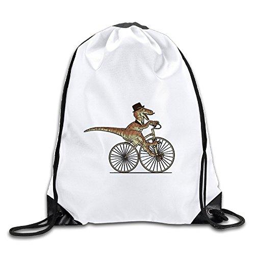 Hunson - Cool Sir Raptor Rides A Bike Backpack Sack Bag Gym Bag For Men & Women Sackpack - Rogue Cartoon Costume