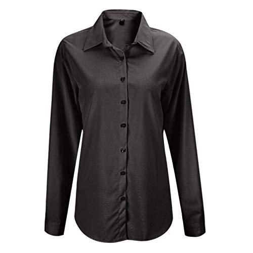 Shirt Camicia Camicetta Bavero Business Manica Casual Blusa Schwarz Autunno Top Fit Monocromo Donna Primaverile Moda Lunga Breasted Slim Ufficio Basic Eleganti Single Ragazza THrATqF