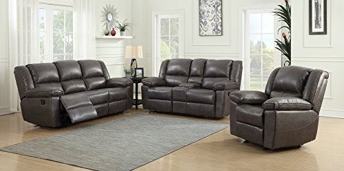 Container Furniture Direct Oregon Recliner Sofa, Console Loveseat and Chair , Hot stamping Cloth Fabric (3pc) (Dark Brown) price