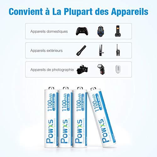 POWXS Piles AAA Rechargeables, Ni-MH 1100mAh 1,2V (Lot de 16), Haute Capacité, AAA Micro LR03, Accu avec Protection Multiple, 1500+ Cycles, Batteries AAA Rechargeables Durables avec Boîte à Piles