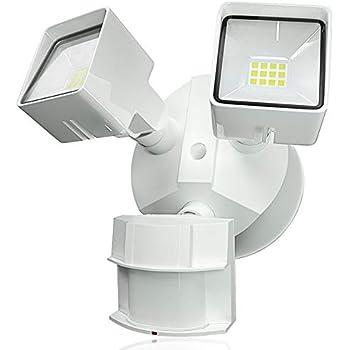 LED Outdoor Flood Security Light with Motion Sensor, 20W, 2 Head, BBOUNDER Waterproof White Motion Light, 5000K,