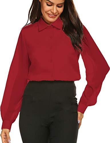 (Womens Bow Tie Neck Long/Short Sleeve Blouse Office Work Chiffon Elegant Casual Shirt Tops)