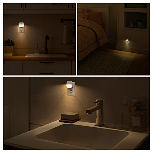 eufy Lumi Plug-in Night Light, Warm White LED Nightlight, Dusk-to-Dawn Sensor, Bedroom Bathroom, Kitchen, Hallway, Stairs, Energy Efficient, Compact, 6-Pack,