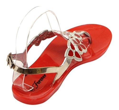 Per Sempre Fata-25 Donna Floreale In Cristallo Dorato Perizoma Regolabile Cinturino Alla Caviglia Colore Estivo Suola In Gomma Sandali Rosso 6