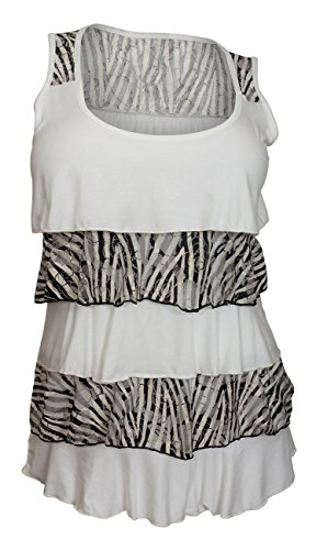 eVogues Plus Size Tiered Ruffle Tank Top Zebra Print White - 1X (Tops Print Zebra)