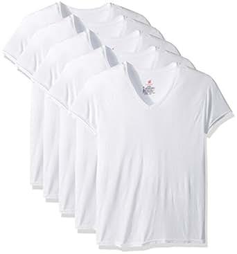 Hanes Mens 7577C5 5-Pack ComfortBlend V-Neck T-Shirt with FreshIQ Short-Sleeve Underwear - White - Small