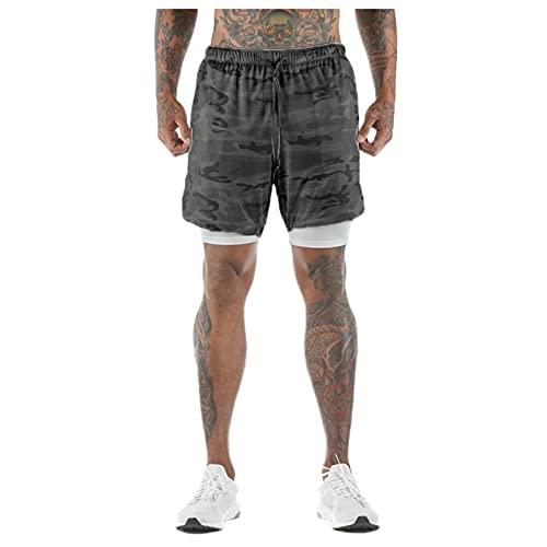 BUZHIDAO Heren 2-in-1 shorts loopshorts actieve loopshorts ademende interne compressieshorts met zak trekkoord heren…
