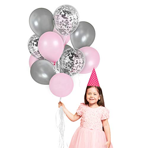 Silver Baby Shower Decorations (Metallic Light Pink and Silver Balloons Silver Confetti Balloons 12 Inches Latex for Girls Baby Shower Birthday Party Decorations Helium)