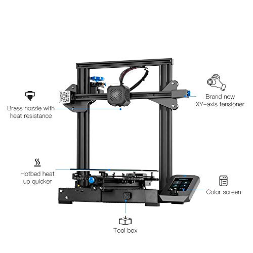 Creality Ender 3 V2 3D Printer with Silent Mainboard Meanwell Power Glass Bed and Resume Printing 220x220x250mm Ideal for Beginners