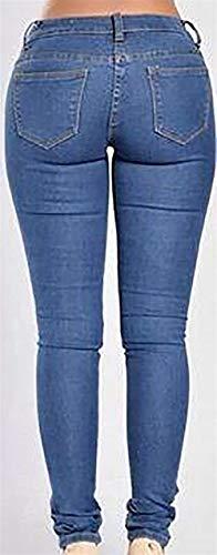 Baggy Distrutti Frayed Ripped Jeans Pantalo Denim Boyfriend Stlie Dunkelblau Unique Ladies qSFPnRw