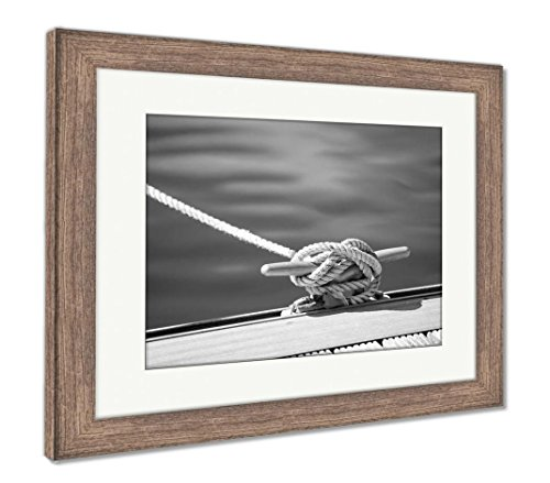 Ashley Framed Prints Detail Image of Yacht Rope Cleat On Sailboat Deck, Wall Art Home Decoration, Black/White, 26x30 (Frame Size), Rustic Barn Wood Frame, AG6057622