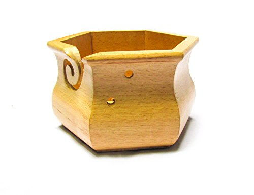 Premium Solid Dark Beech Wood Crafted Wooden Portable Hexagonal Yarn Bowl/Handi | Knitting | Crochet Holder | Hind Handicrafts (6 x 6 x 4 inch) (Storage Beechwood Cart)