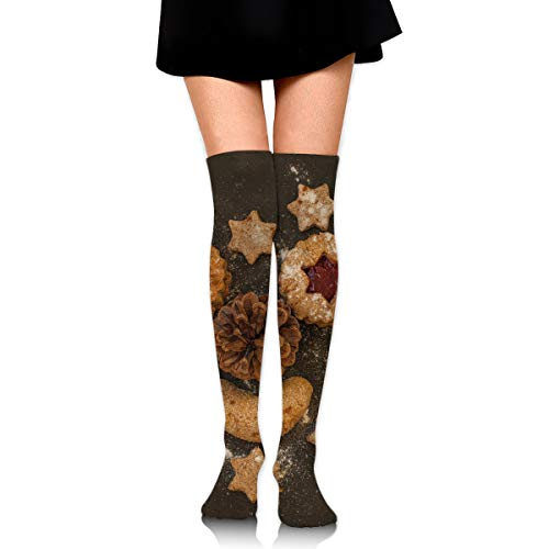 Christmas Cookies Pastries Pine Cone Star Sugar Sweets Ankle Stockings Over The Knee Sexy Womens Sports Athletic Soccer Socks