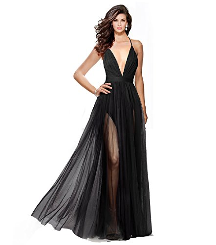 Alluring deep v-Neckline Spaghetti Straps Criss-Cross Open Back Tulle Dual Front Slits Evening Prom Formal Dress (Black, 12) 12 Formal Prom Dress