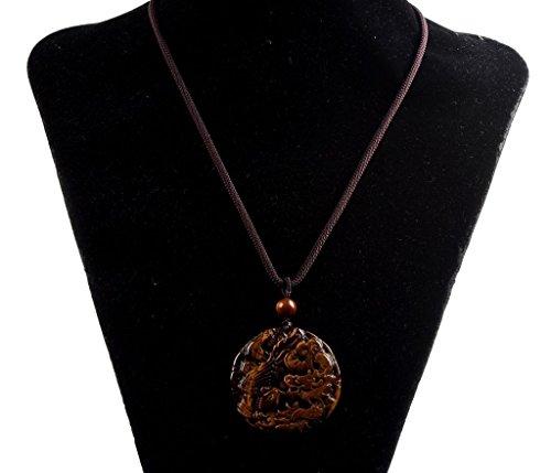 Amandastone Gemstone Dragon and Phoenix Amulet Charm Pendant Necklace 20