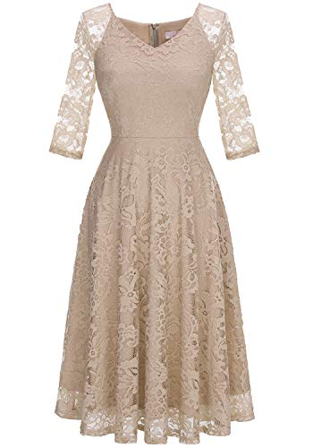 Dressystar Long-Sleeve A-Line Lace Bridesmaid Dress Midi for Wedding Formal Party XL Champagne