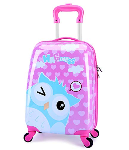 LeLeTian Kids Luggage Cute Animal Owl Hardshell Lightweight Adjustable Handle Rolling Carry On Suitcase For Age 2+