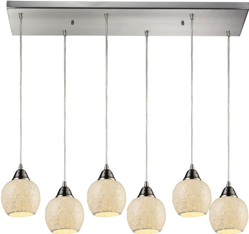 Elk 10208/6RC-CLD 30 by 9-Inch Fission 6-Light Pendant with Cloud Glass Shade, Satin Nickel Finish