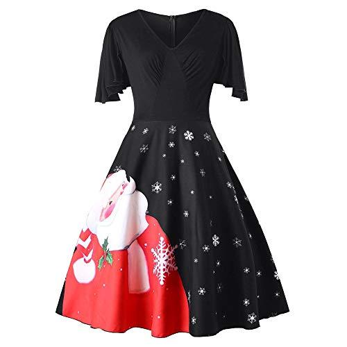 kaifongfu Plus Size Swing Dress Women V-Neck Christmas Santa Claus Dresses(Black,XXXXXL