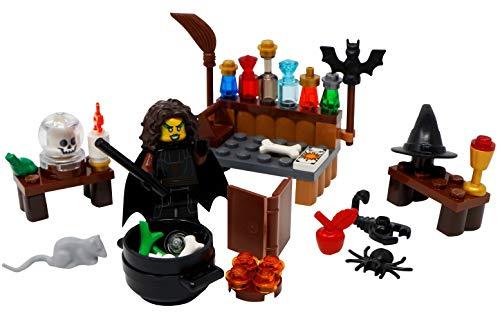 LEGO Bruja de Halloween, Caldero, Escoba, Libro de hechizos, Sombrero y más juguetes - Minifigura de monstruo espeluznante personalizado
