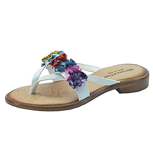 2990f4a3 Mercante di Fiori Kmi 54541 Pelle Bianco Fiori Multicolor - Sandalias de Piel  para mujer