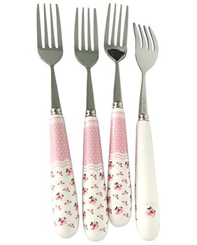 FREELOVE Pastoral Ceramic Handle Stainless Steel Flatware Sets Spoons Forks Whisk Shovel Ladle (4, 7.5'' Medium Fork)