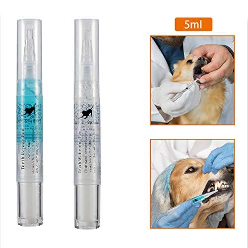 MEWTOGO 2pcs Pet Teeth Cleaning Kit- Dog Cat Tartar Teeth Stone Cleaning Tool Pet Cosmetic Toothbrush Teeth Whitening…