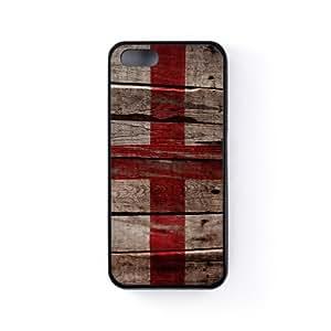 Vintage Flags - Wooden Flag of England - English Flag Funda Protectora Snap-On en Silicona Negra para Apple® iPhone 5 / 5s de UltraFlags + Se incluye un protector de pantalla transparente GRATIS